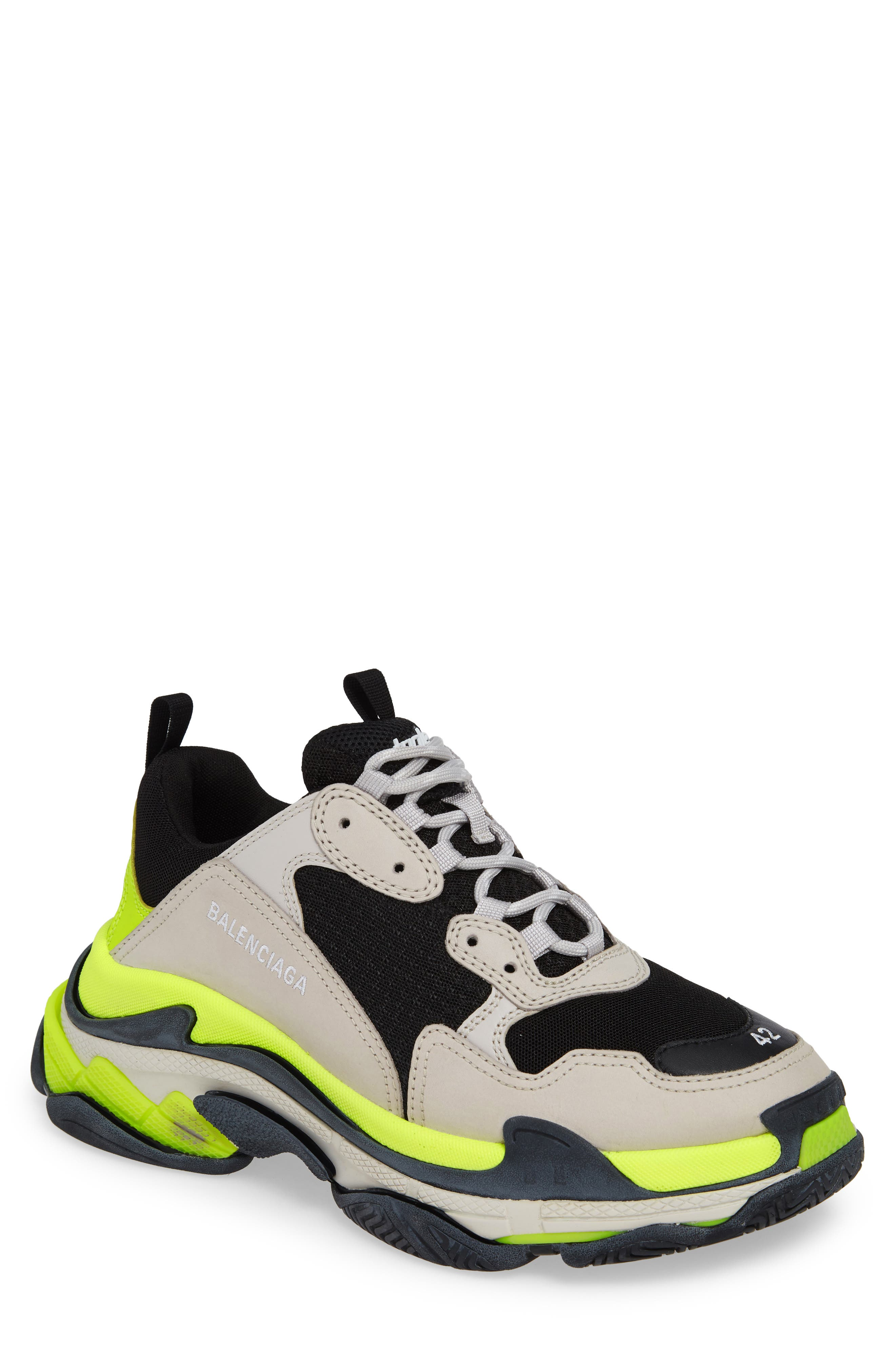 ,                             Triple S Retro Sneaker,                             Main thumbnail 1, color,                             GREY/ YELLOW FLUO