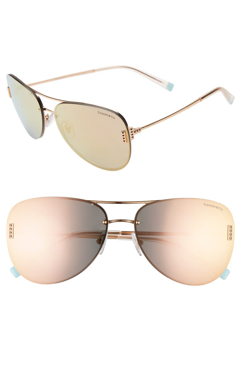 TIFFANY & CO. 62mm Aviator Sunglasses, Main, color, 710