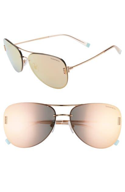 Tiffany & Co Sunglasses 62MM AVIATOR SUNGLASSES - PALE GOLD/ BROWN WHITE MIRROR