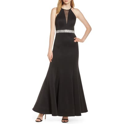 Morgan & Co. Jeweled Waist Scuba Crepe Evening Dress, Black