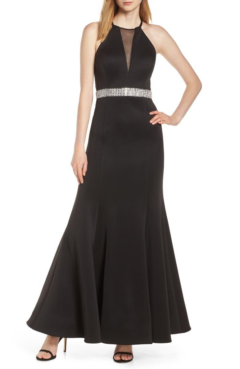 MORGAN & CO. Jeweled Waist Scuba Crepe Evening Dress, Main, color, BLACK