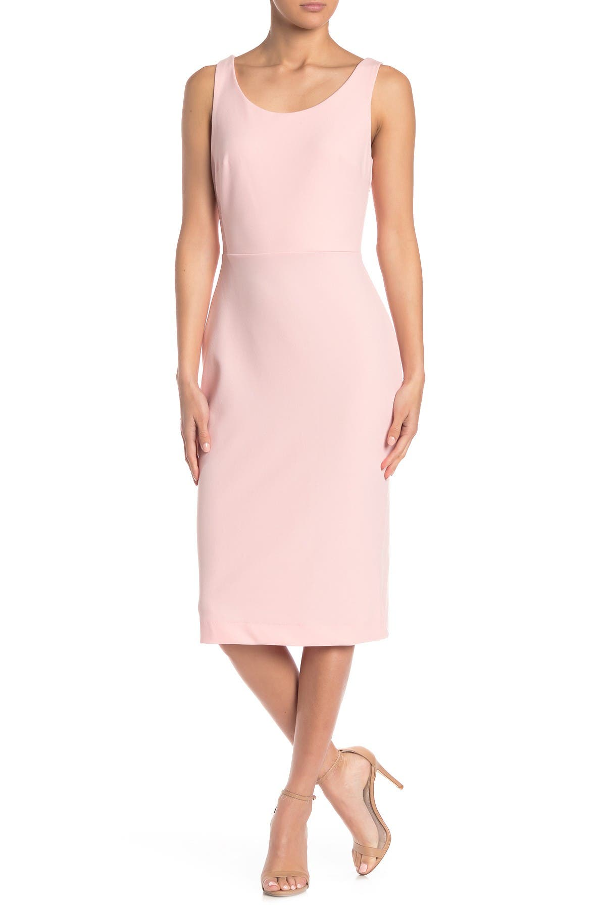 Image of Betsey Johnson Scoop Neck Sleeveless Crepe Midi Dress