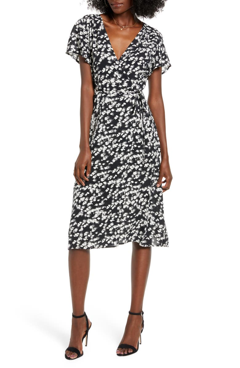 LEITH Print Flutter Sleeve Wrap Dress, Main, color, BLACK STARBURST