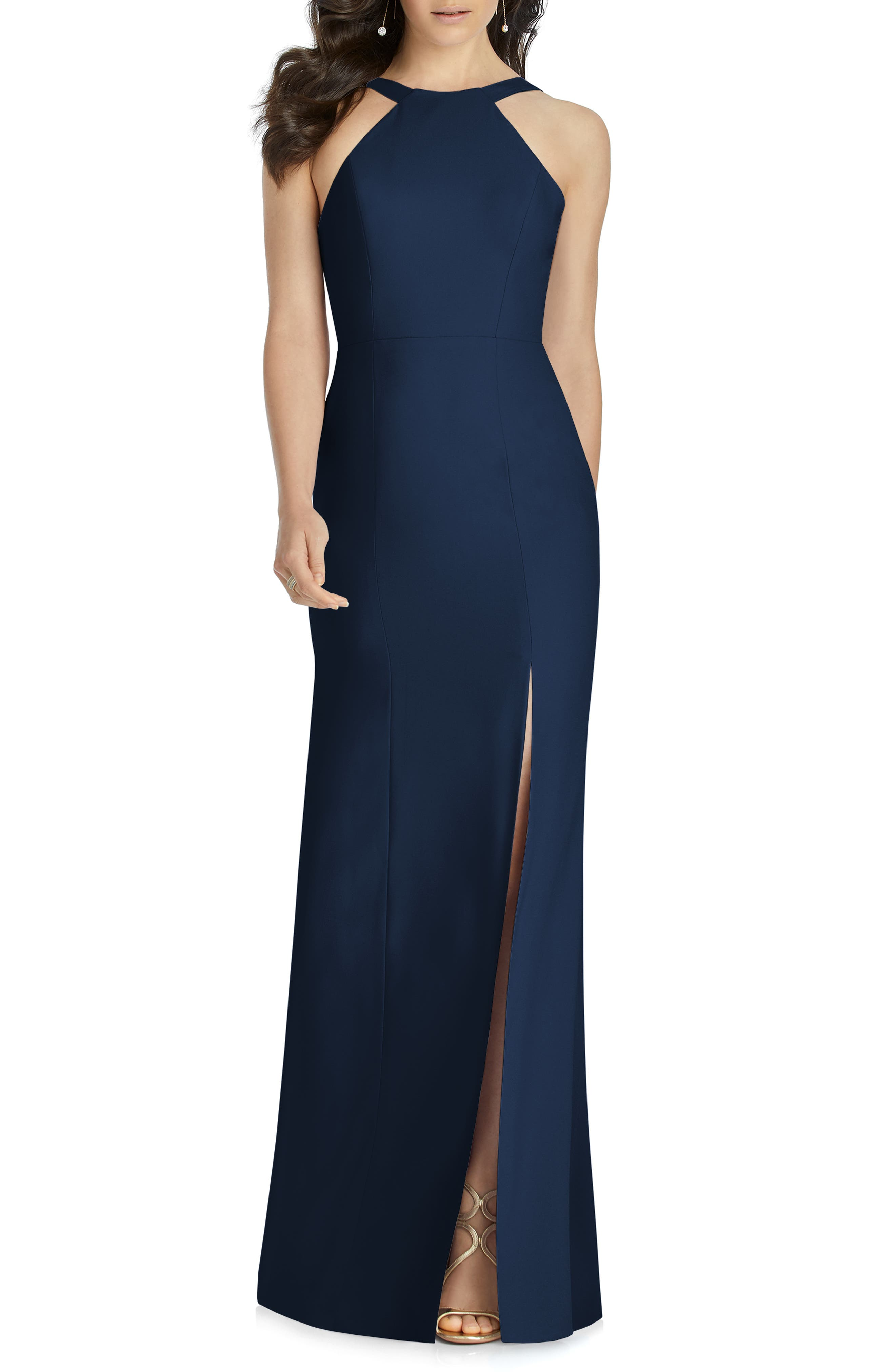 Dessy Collection Cutaway Shoulder Crepe Gown, Blue