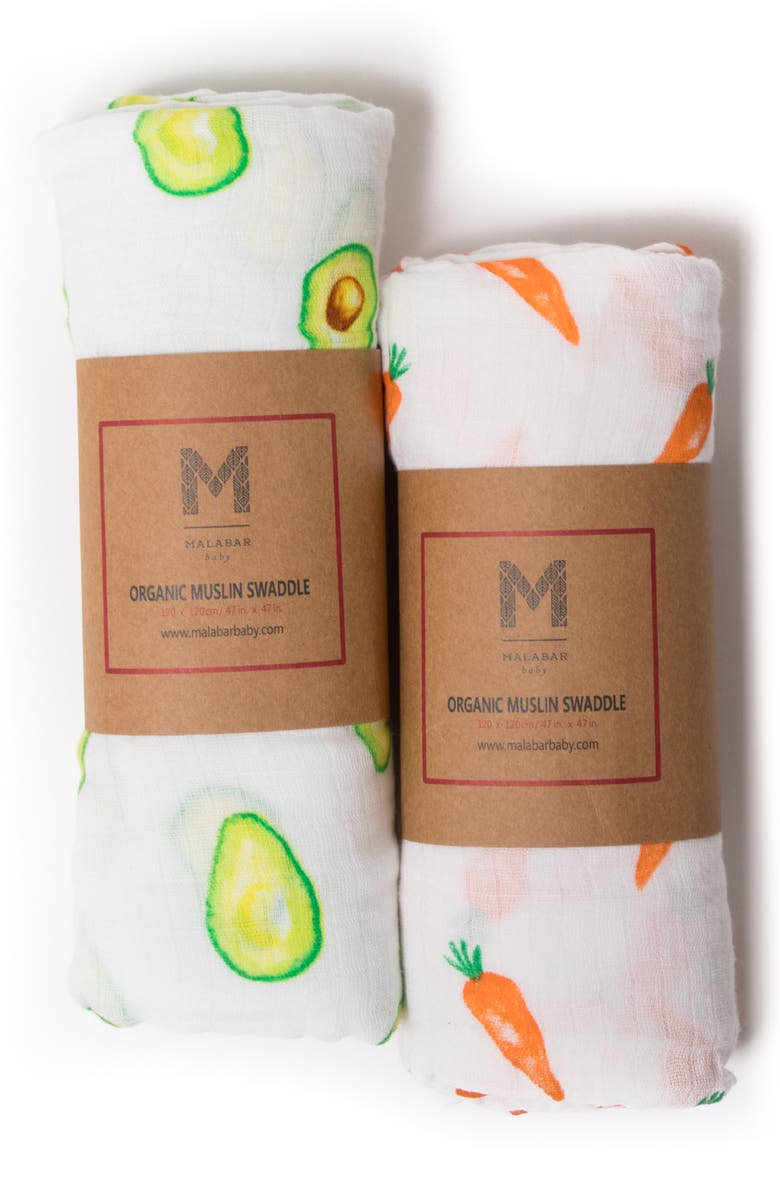 MALABAR BABY 2-Pack Organic Muslin Swaddles, Main, color, FIRST FOODS