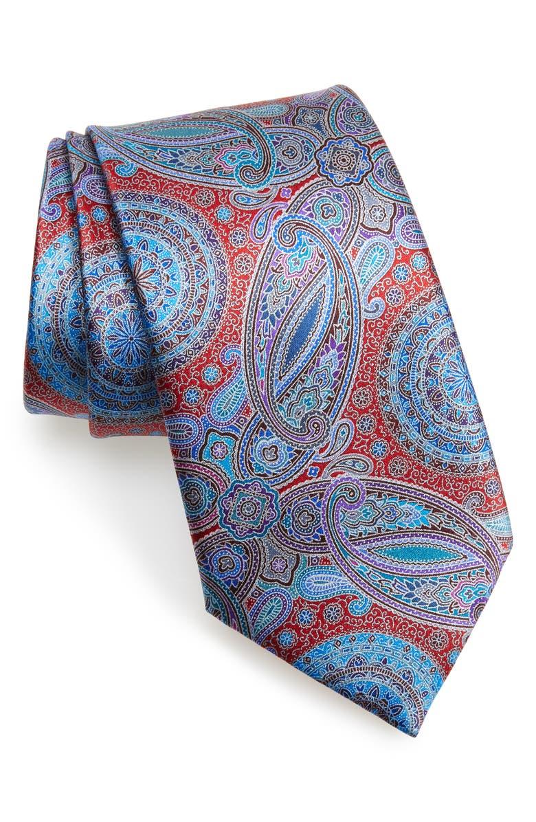 ERMENEGILDO ZEGNA Venticinque Paisley Silk Tie, Main, color, MD RED FAN