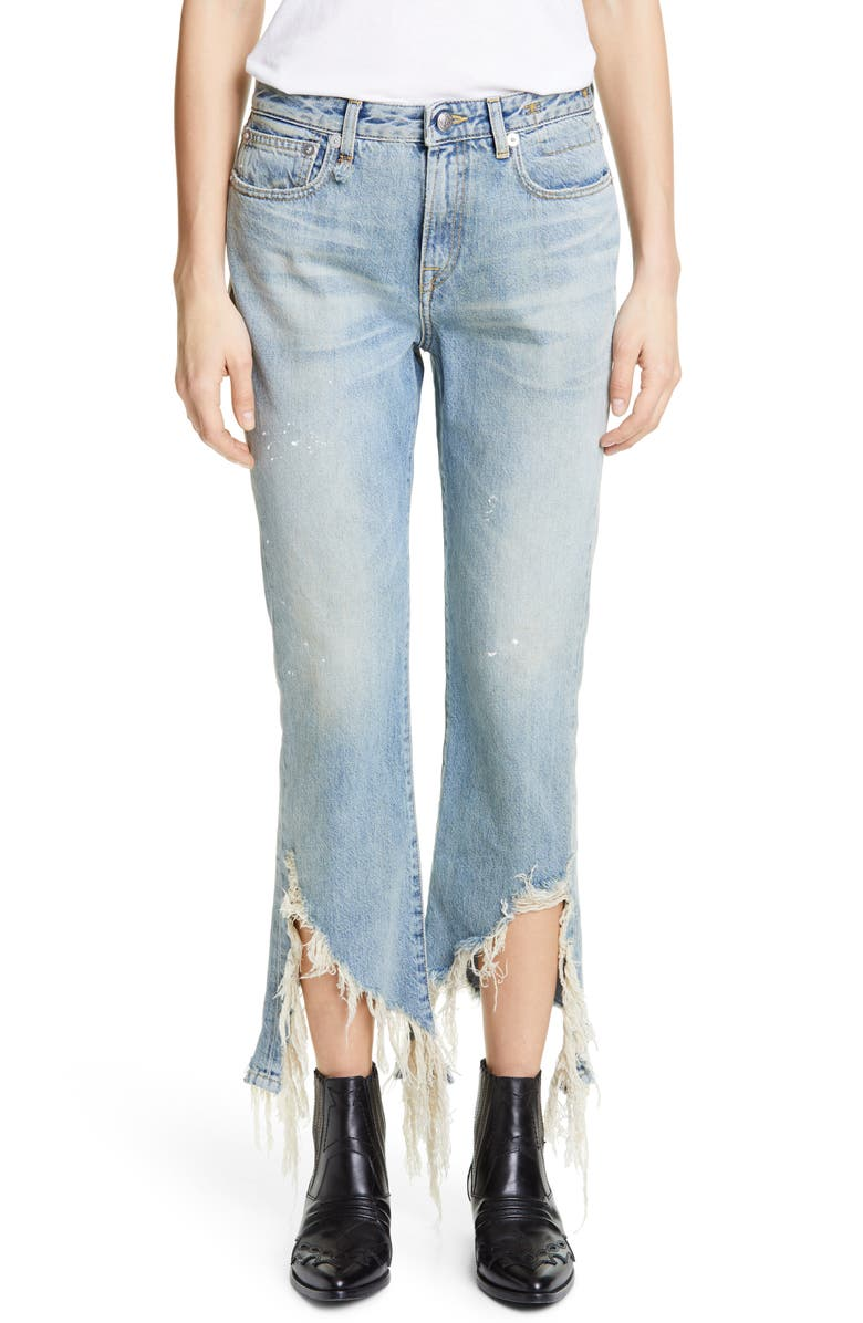 R13 Spiral Kick Ripped Bootcut Jeans, Main, color, 470