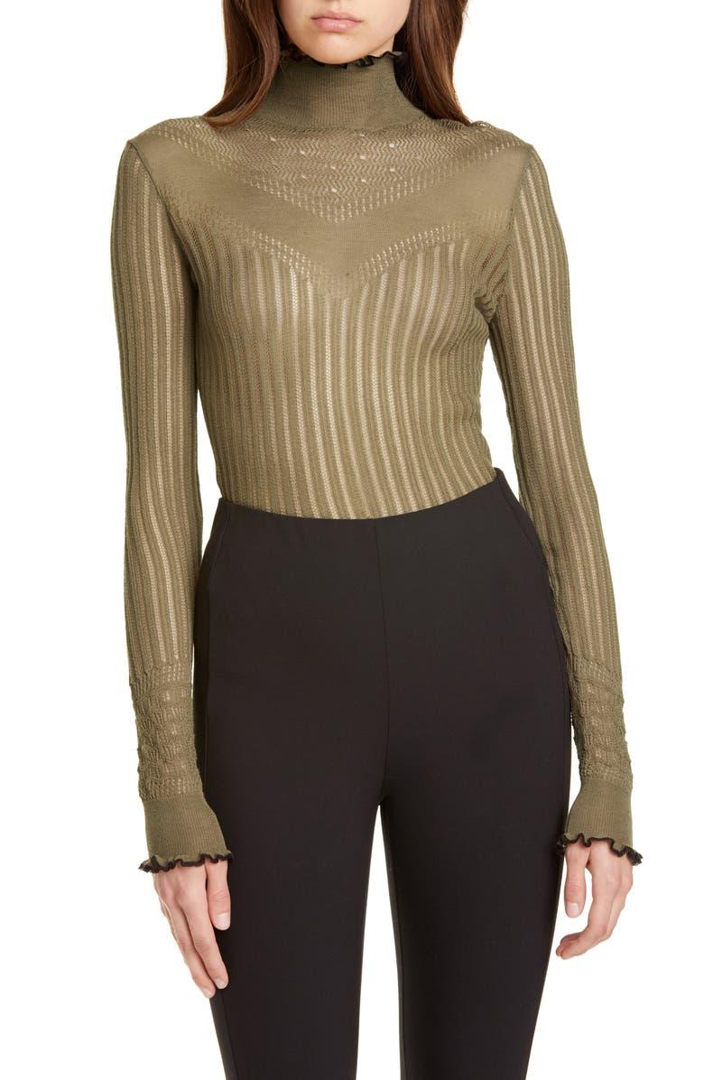 RAG & BONE Breanne Openwork Mock Neck Sweater, Main, color, DUSKY GREEN