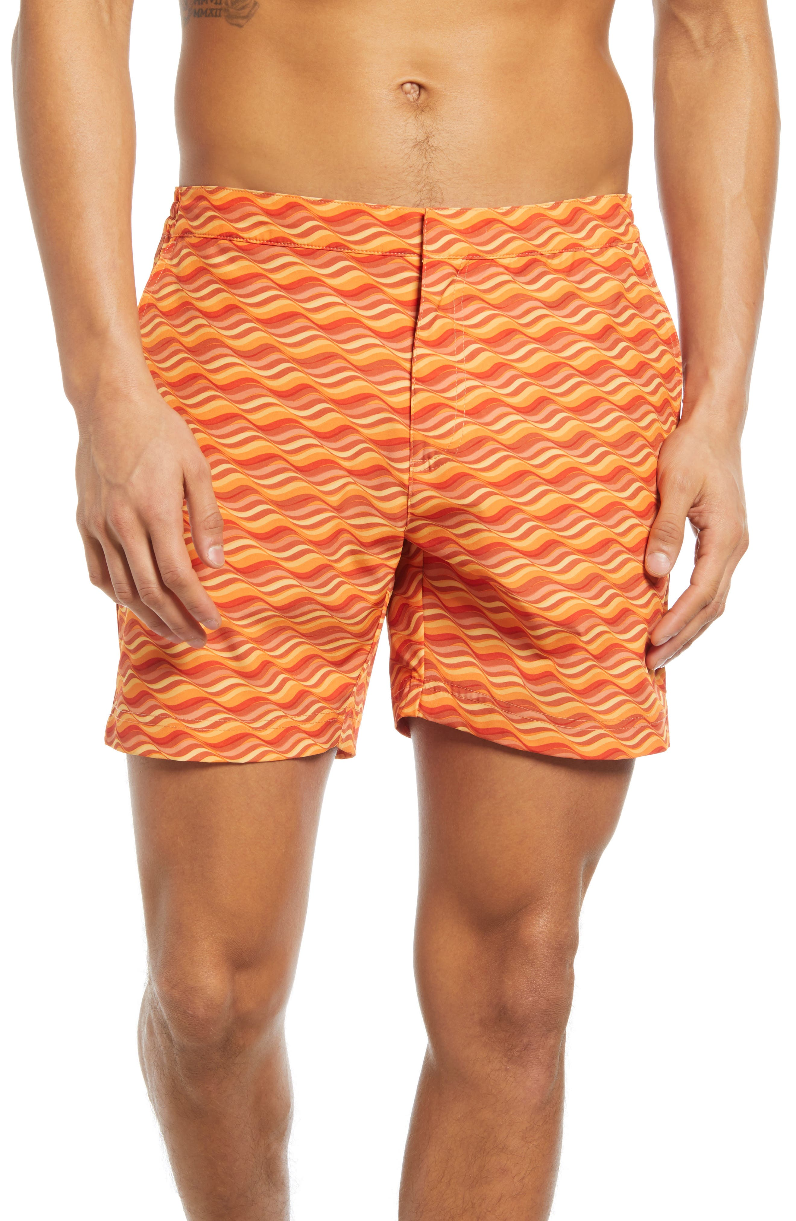 Vintage Men's Swimsuits – 1930s, 1940s, 1950s History Mens Fair Harbor The Sextant Wave Print Swim Trunks Size 36 - Orange $88.00 AT vintagedancer.com