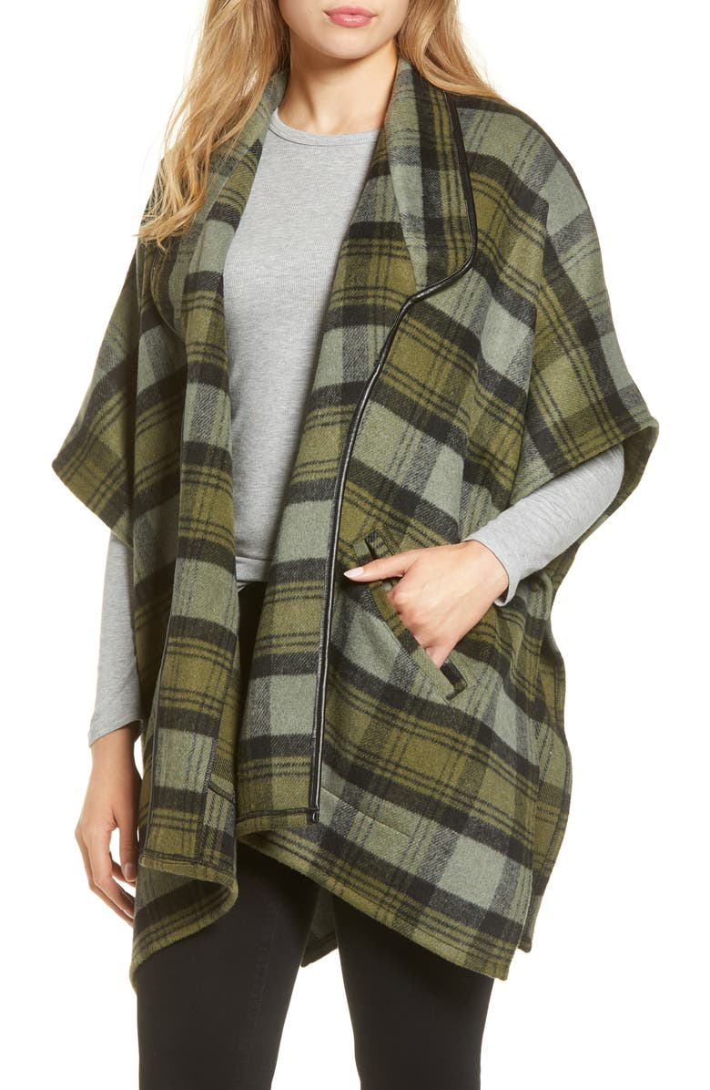 NORDSTROM Plaid Wrap, Main, color, GREEN COMBO LODGE PLAID