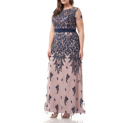 Plus Size Js Collections Embroidered Floral Gown, Beige