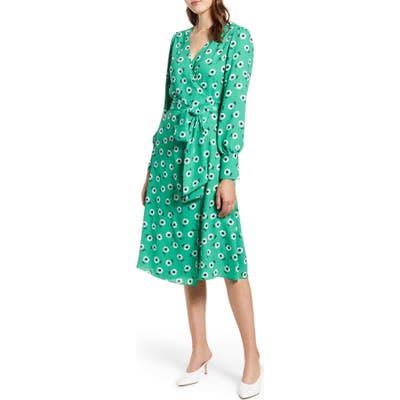 Petite Halogen Long Sleeve Wrap Midi Dress, Green