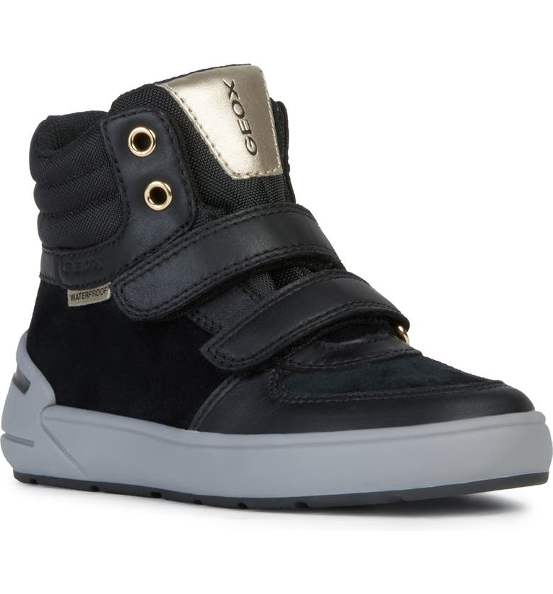 GEOX Sleigh Waterproof High Top Sneaker, Main, color, BLACK