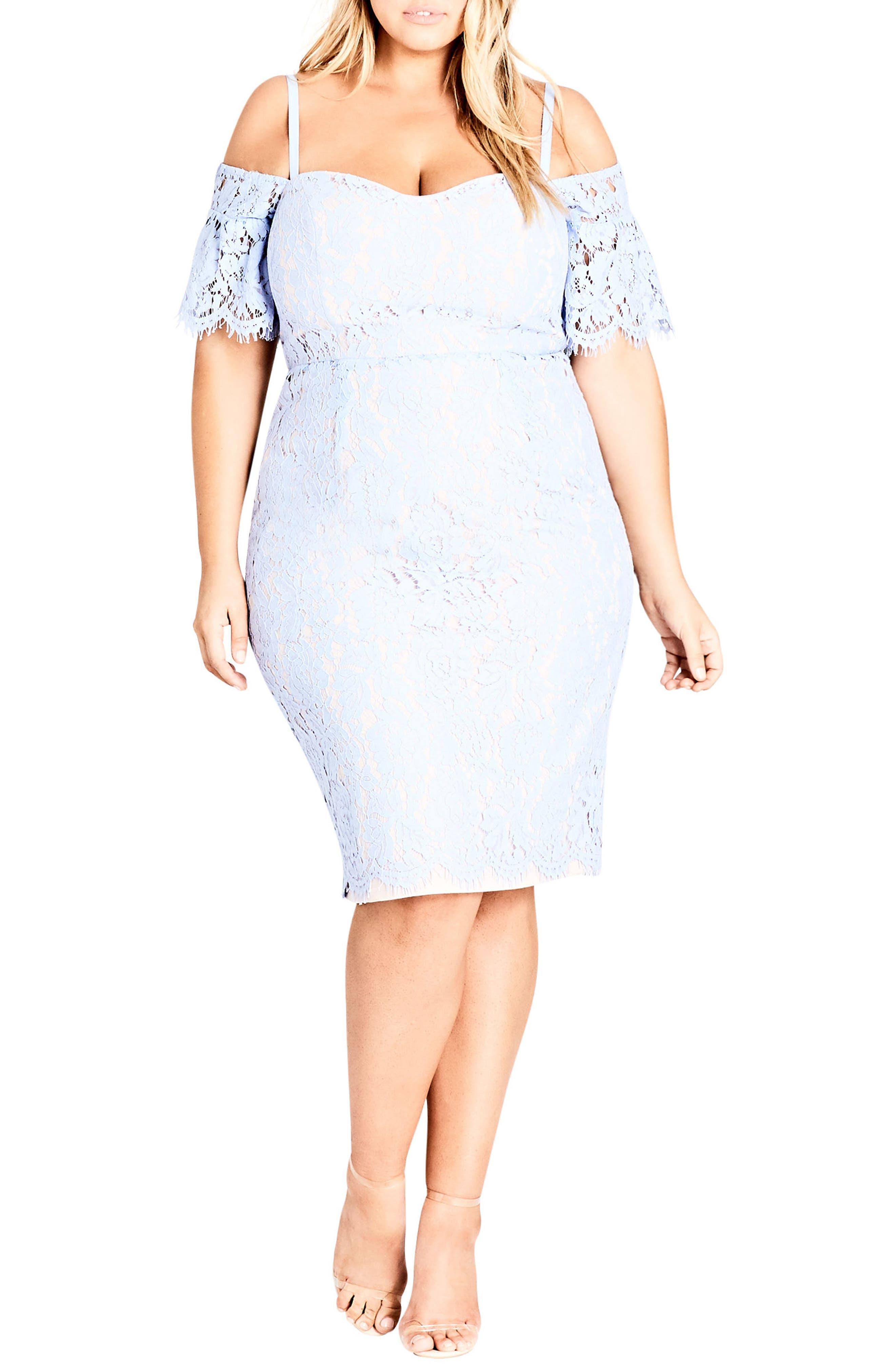 Plus Size City Chic Lace Whisper Dress, Blue