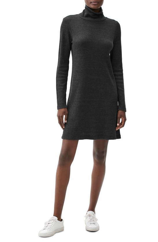 Michael Stars Jules Slouch Long Sleeve Turtleneck Dress In Charcoal