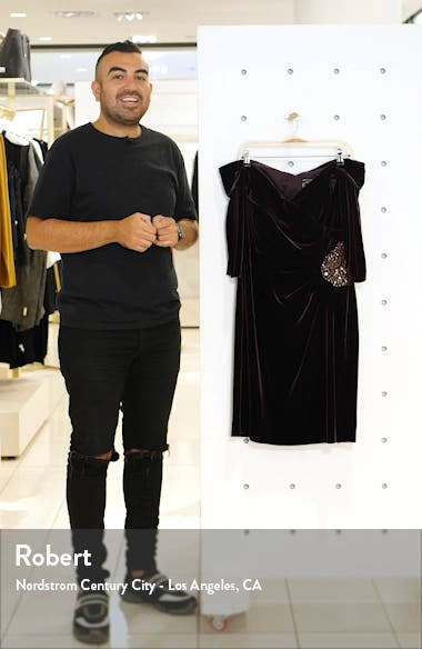 Off the Shoulder Velvet Cocktail Dress, sales video thumbnail