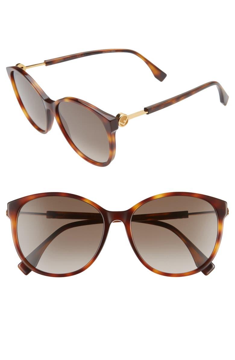 FENDI 58mm Gradient Cat Eye Sunglasses, Main, color, DARK HAVANA/ BROWN