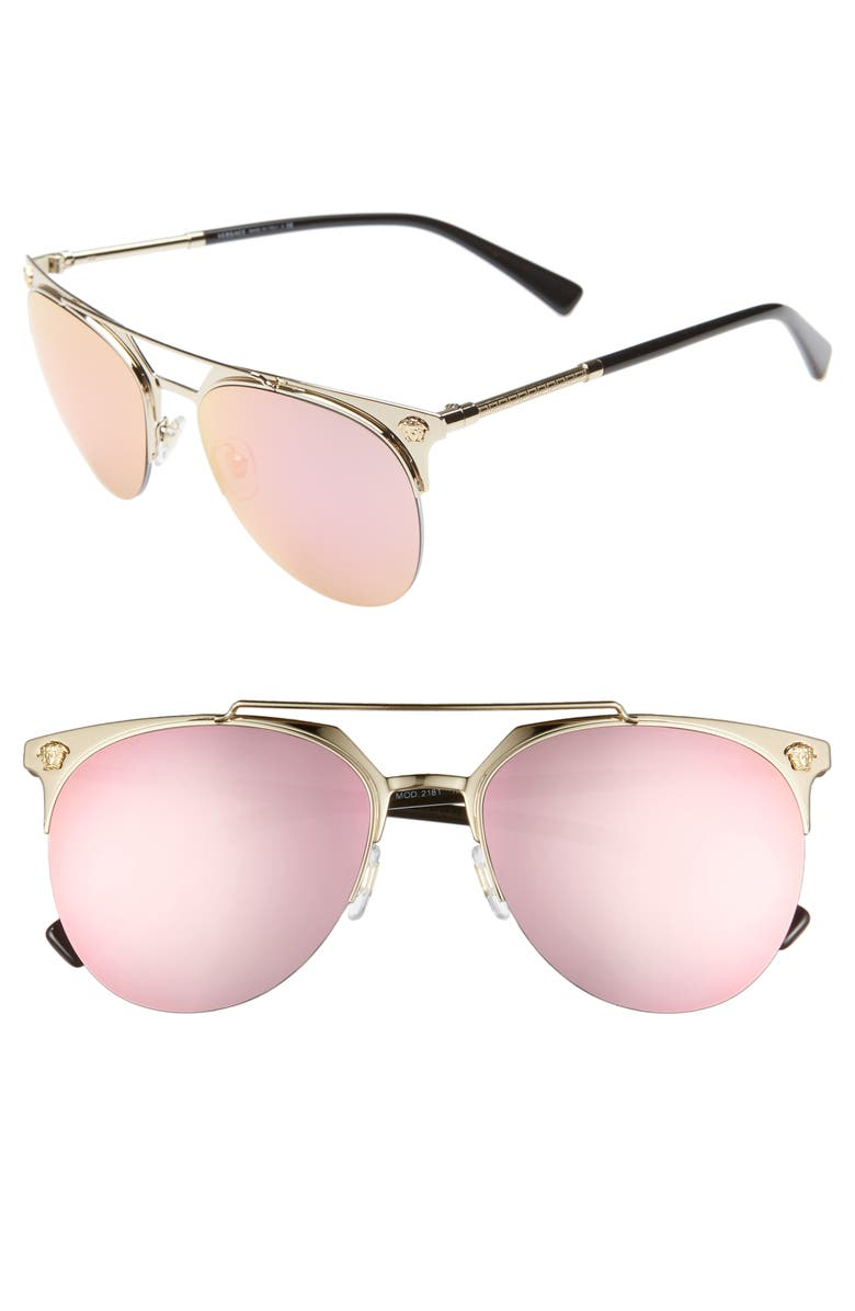 VERSACE 57mm Mirrored Semi-Rimless Sunglasses, Main, color, PALE GOLD/ PINK MIRROR