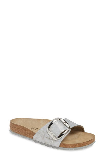 Birkenstock Madrid Big Buckle Slide Sandal In Washed Metallic Blue Leather