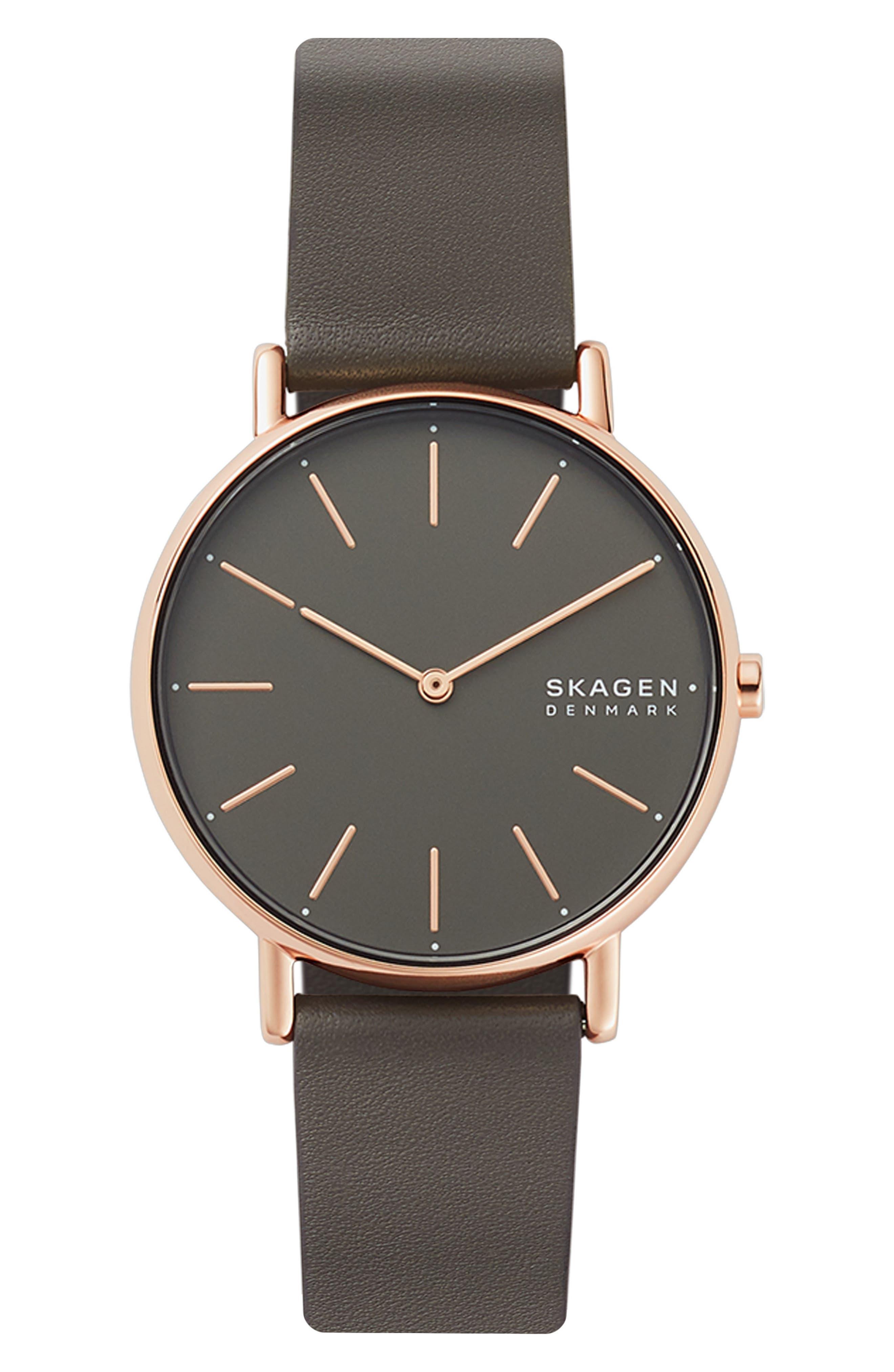 women's skagen signatur leather strap watch, 38mm