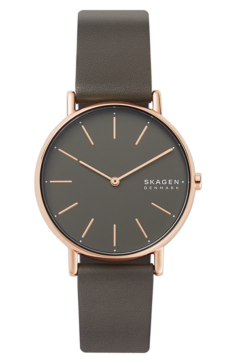 SKAGEN Signatur Leather Strap Watch, 38mm, Main, color, GREY/ ROSE GOLD