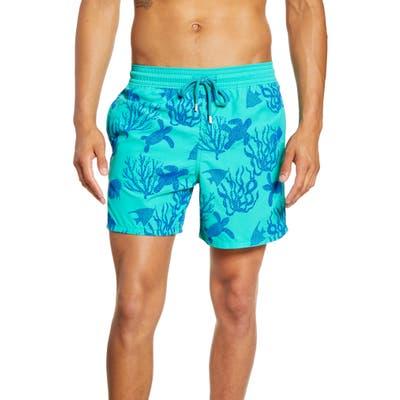 Vilebrequin Moorea Coral Turtles Flocked Swim Trunks, Green