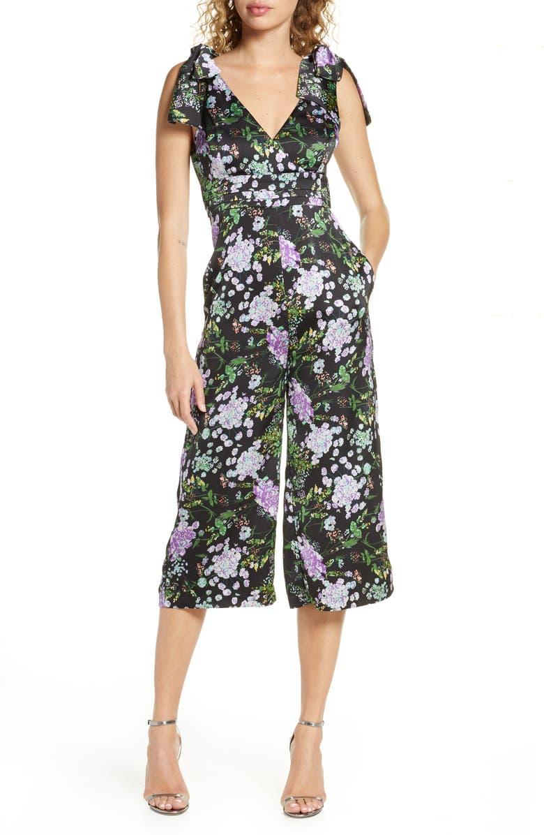 FOXIEDOX Floral Print Tie Shoulder Jumpsuit, Main, color, BLACK MULTI