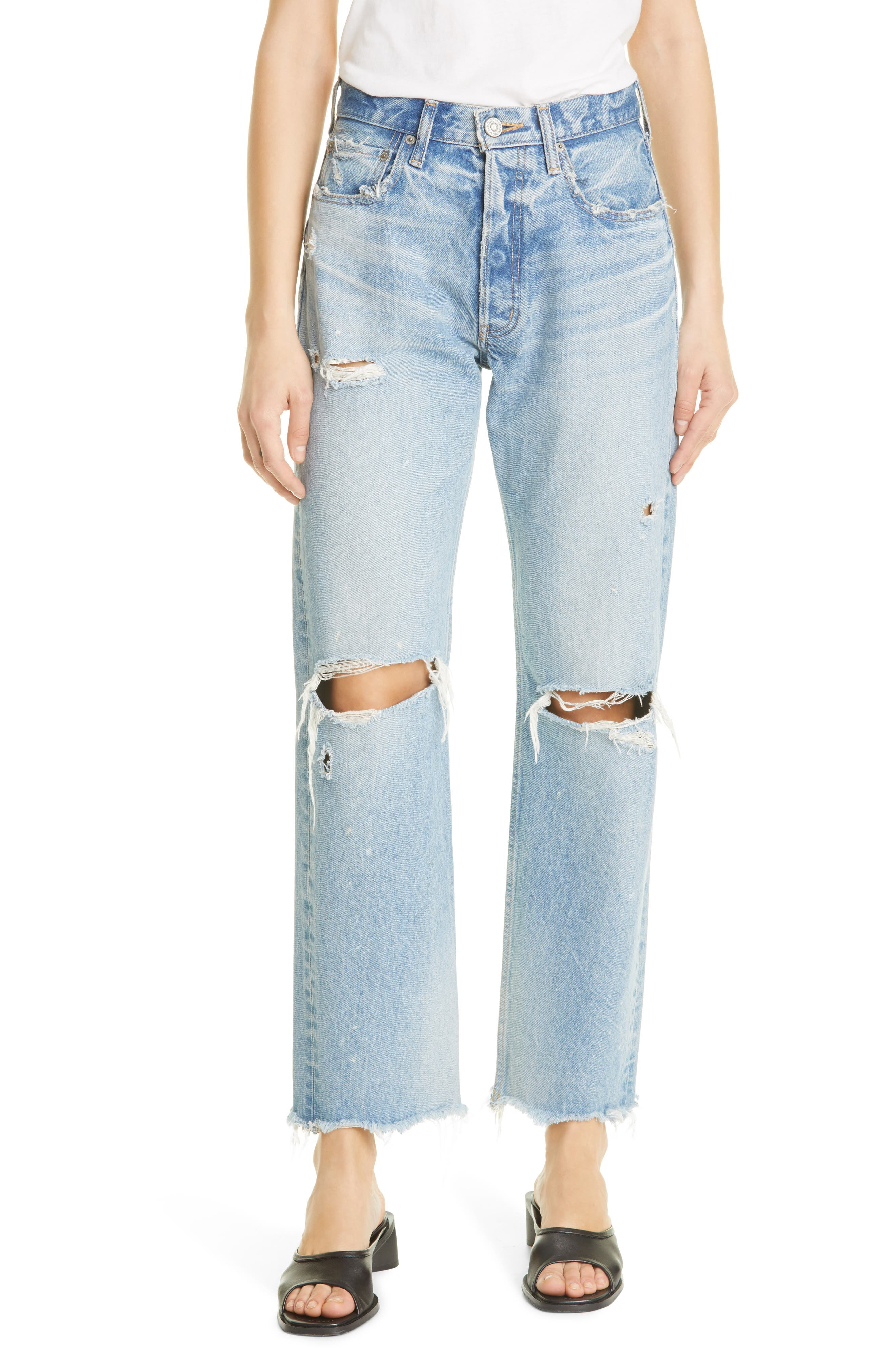 Odessa Distressed Wide Straight Leg Jeans