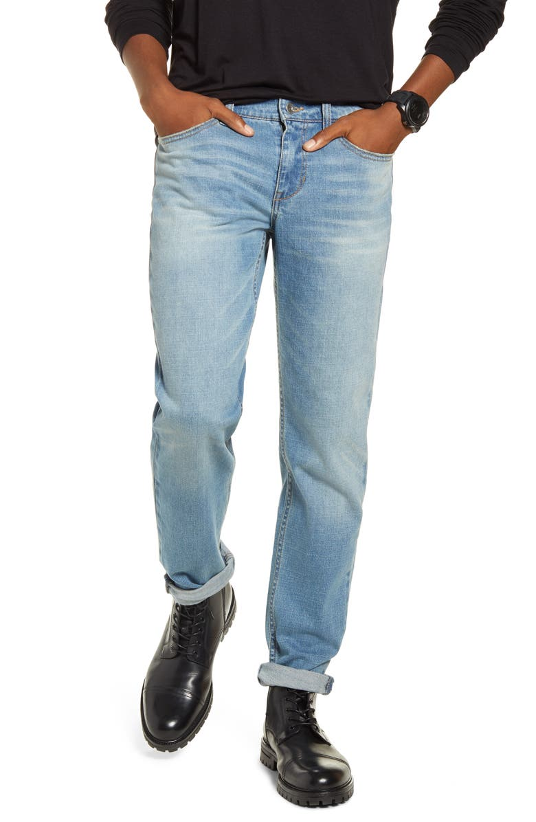 BP. x Alex Costa Stretch Skinny Jeans, Main, color, BLUE EVAN WASH
