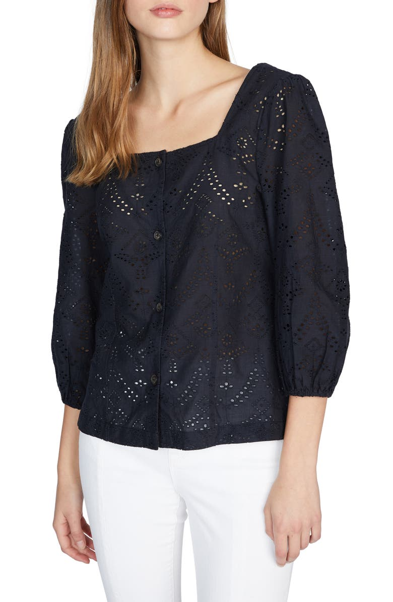 SANCTUARY Voyage Embroidered Square Neck Cotton Blouse, Main, color, 001