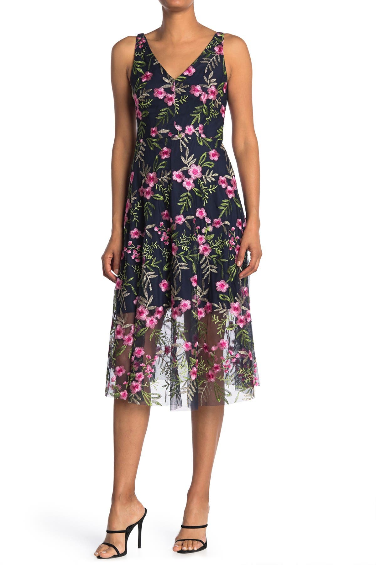 Image of Vince Camuto Floral Embroidered V-Neck Sleeveless Midi Dress