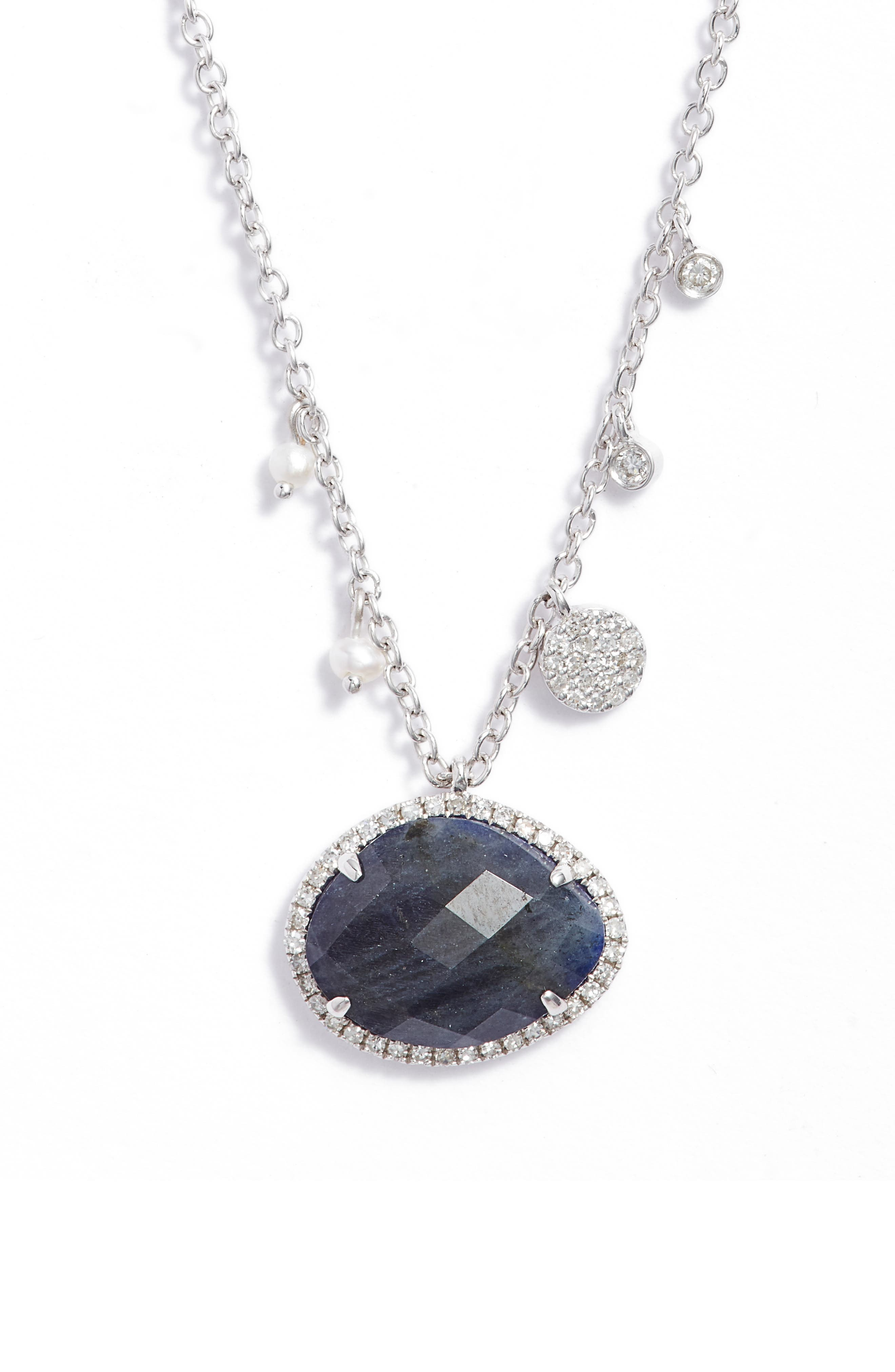 Diamond & Labradorite Pendant Necklace