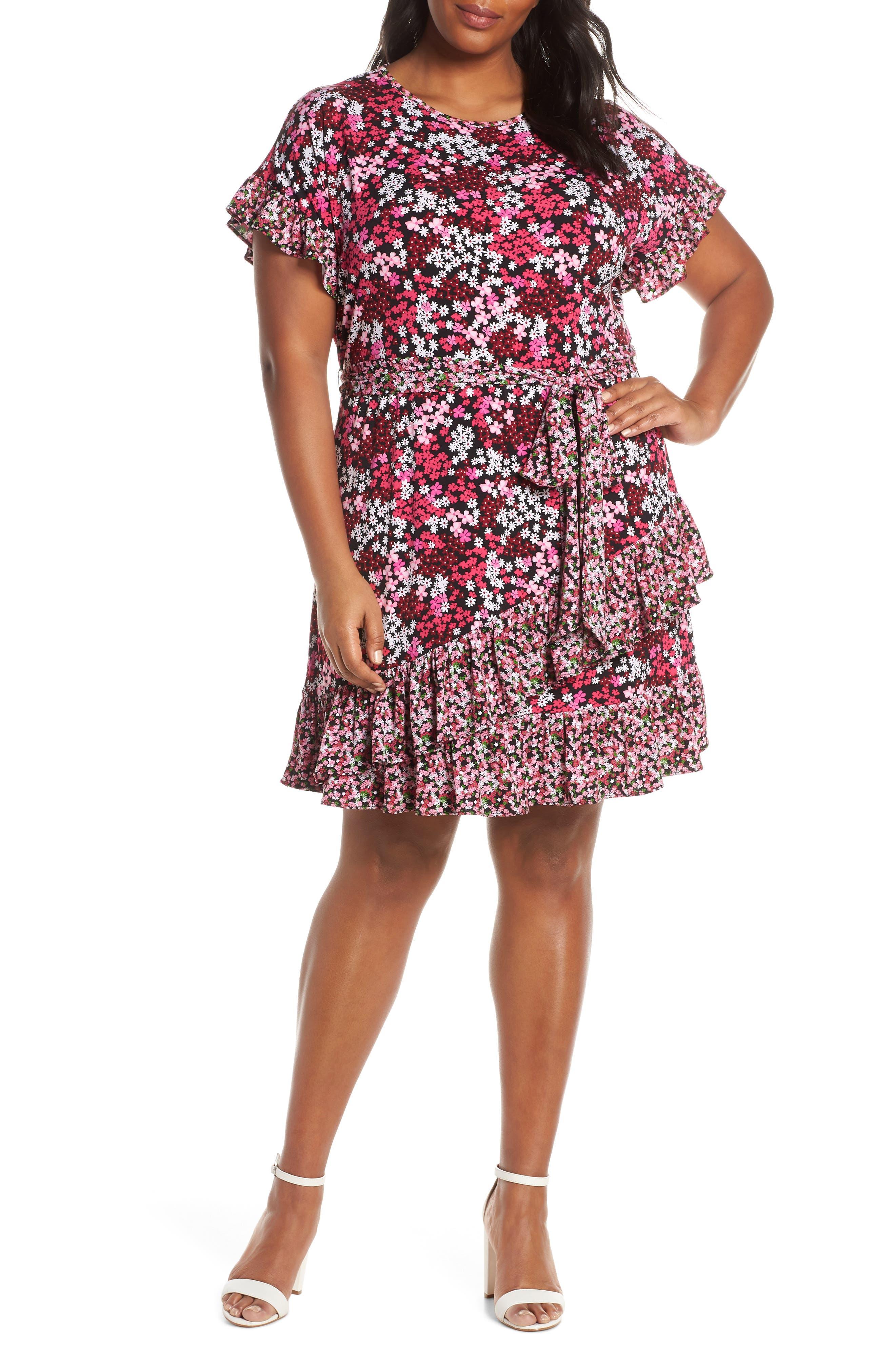 Plus Size Michael Michael Kors Cherry Blossom Ruffle Faux Wrap Dress, Black