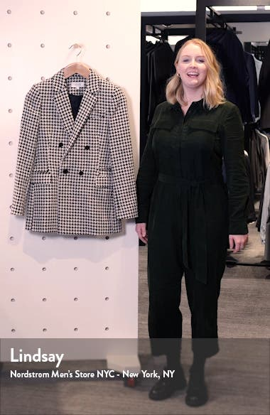 Rose Puppytooth Check Wool Blend Blazer, sales video thumbnail
