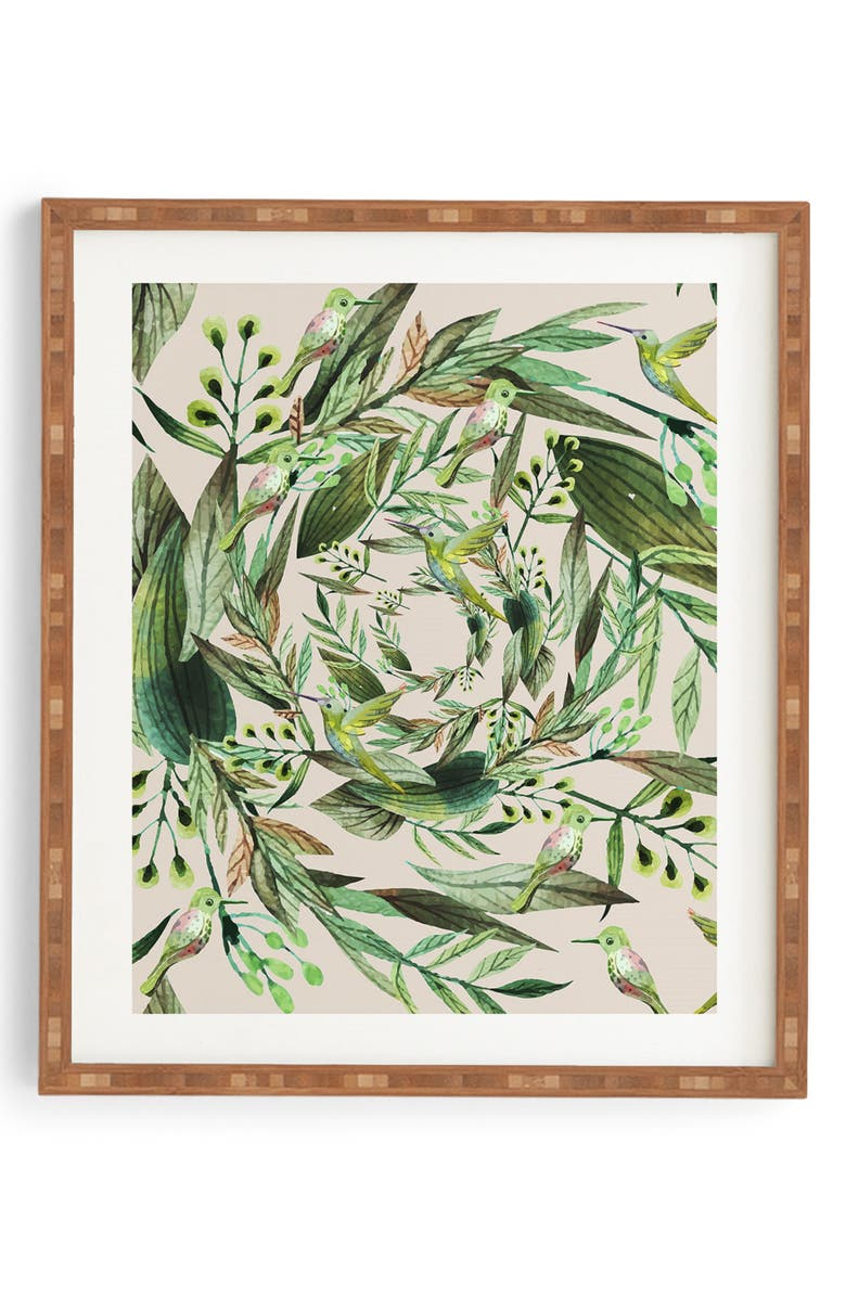 DENY DESIGNS Nature in Circles Framed Wall Art, Main, color, GREEN