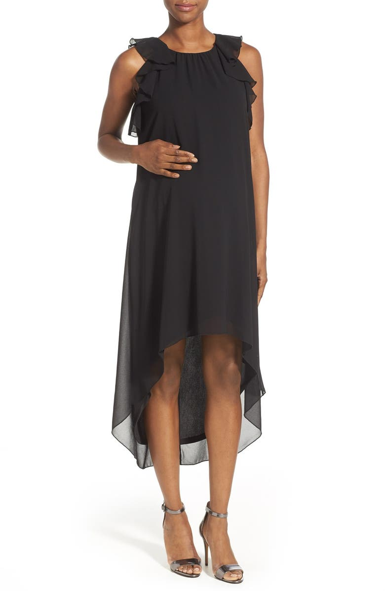MATERNAL AMERICA Ruffle Chiffon High/Low Maternity Dress, Main, color, 001