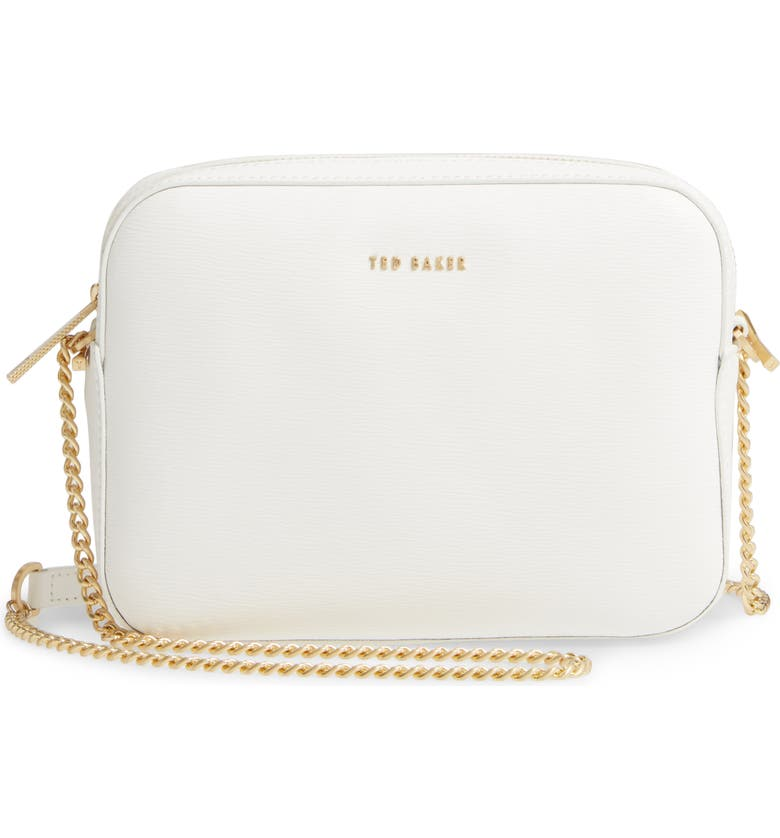 TED BAKER LONDON Judithh Bow Detail Leather Crossbody Bag, Main, color, 100