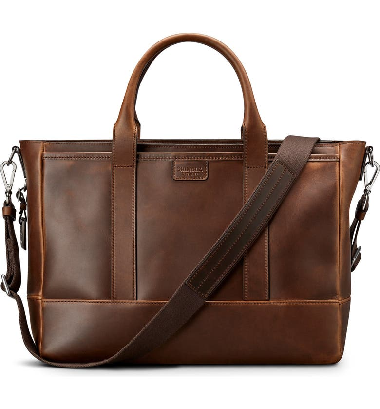 SHINOLA Navigator Leather Briefcase, Main, color, MED BROWN