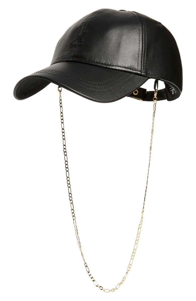 KANGOL Luxe Faux Leather Baseball Cap, Main, color, BLACK