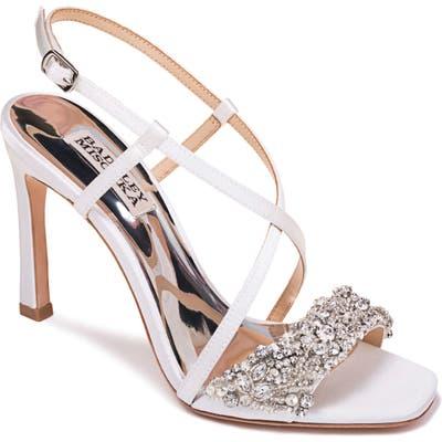 Badgley Mischka Elana Embellished Slingback Sandal- White