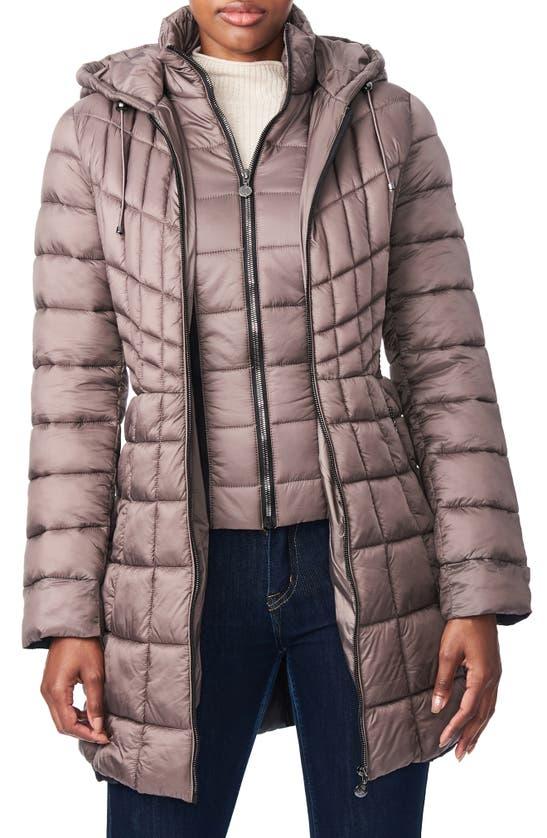Bernardo Packable Hooded Primaloft Fill Coat With Contrast Inset Bib In Antique