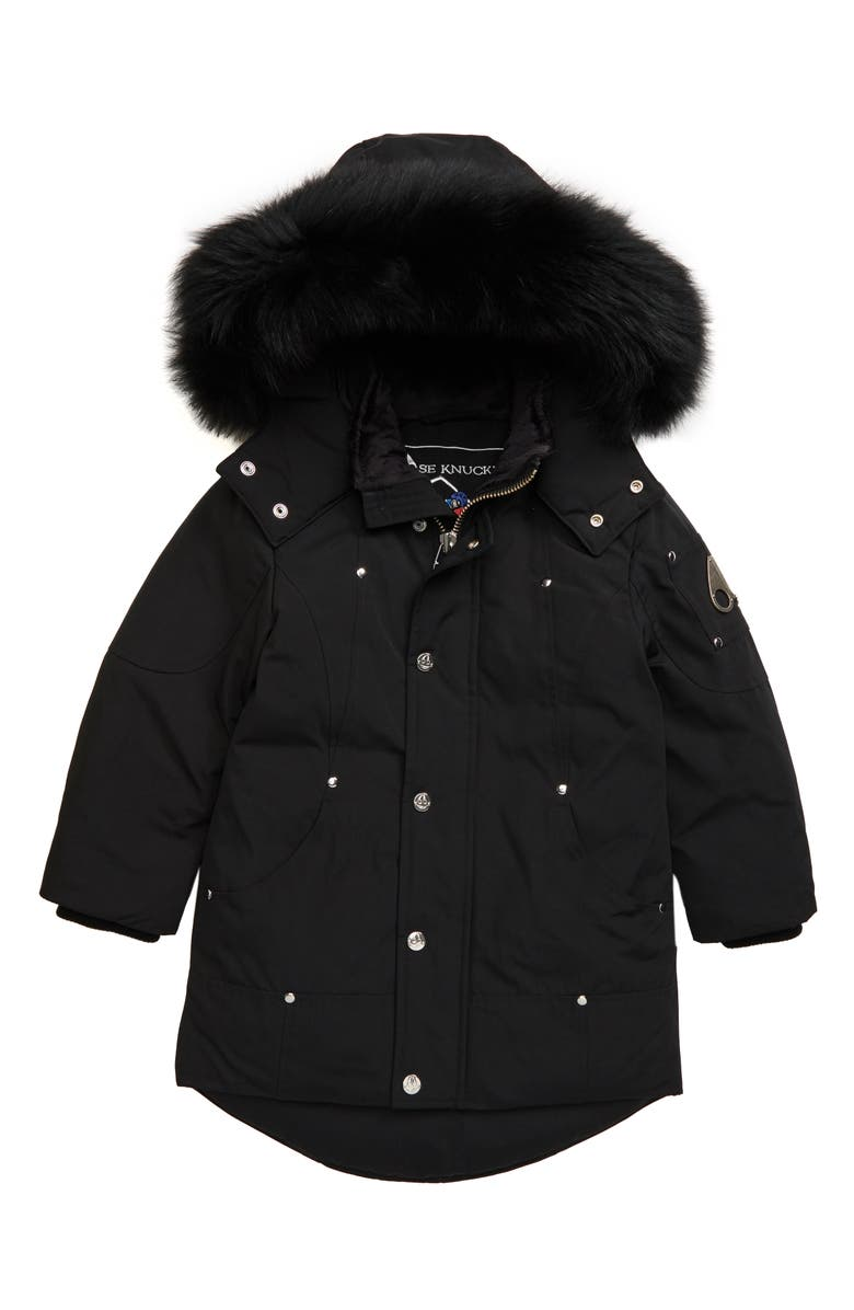 MOOSE KNUCKLES Hooded Parka with Genuine Fox Fur Trim, Main, color, BLACK/ BLACK FOX