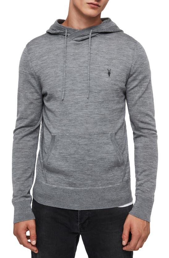 Allsaints Mode Merino Wool Hoodie In Grey Marl