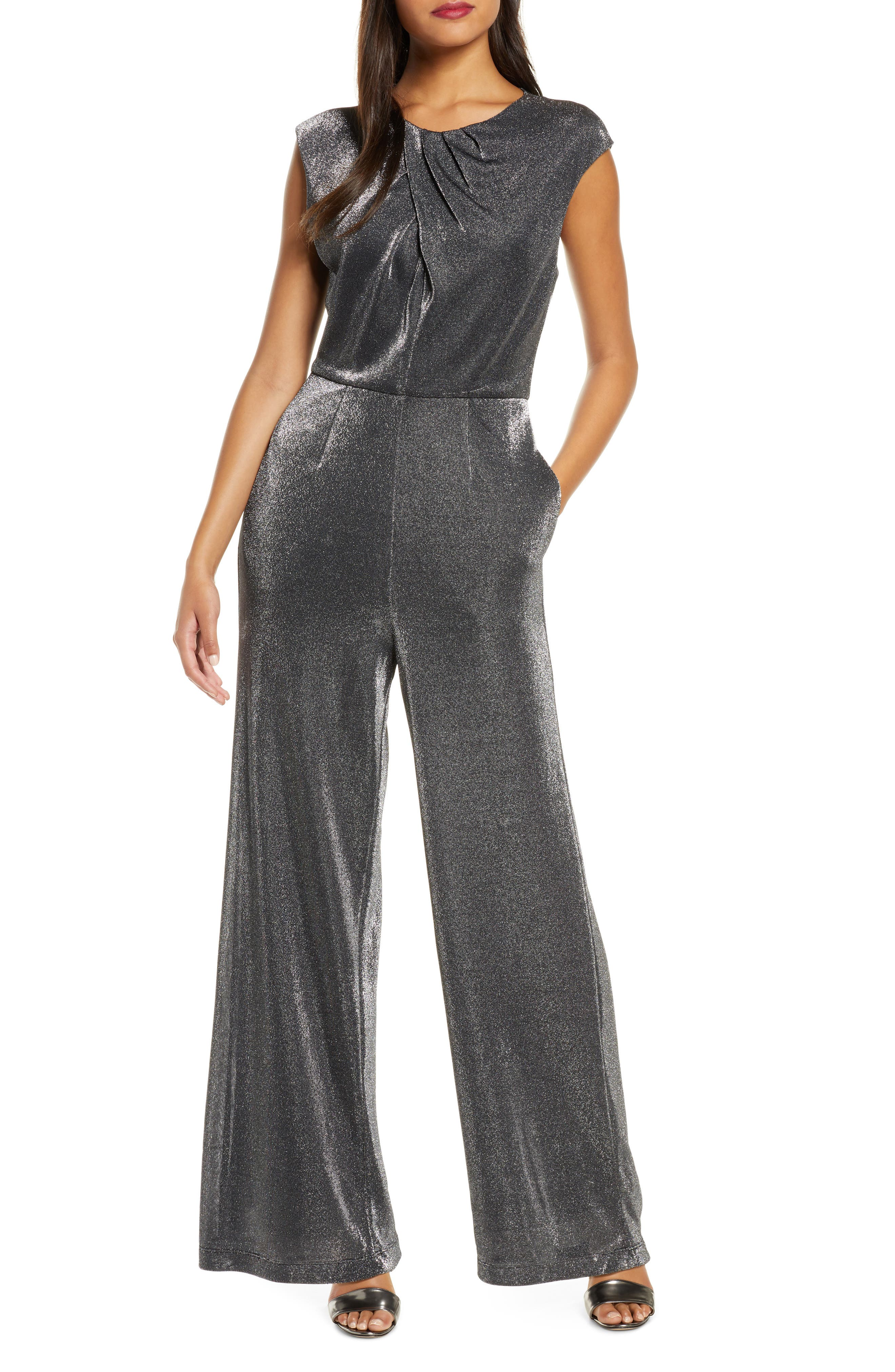 70s Jumpsuit   Disco Jumpsuits – Sequin, Striped, Gold, White, Black Womens Donna Ricco Metallic Cap Sleeve Wide Leg Jumpsuit $138.00 AT vintagedancer.com
