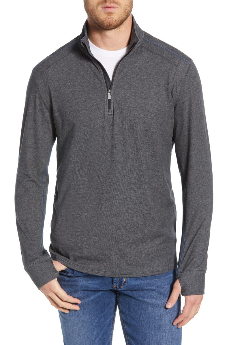 TOMMY BAHAMA IslandActive<sup>®</sup> Palm Valley Half Zip Performance Pullover, Main, color, BLACK HEATHER