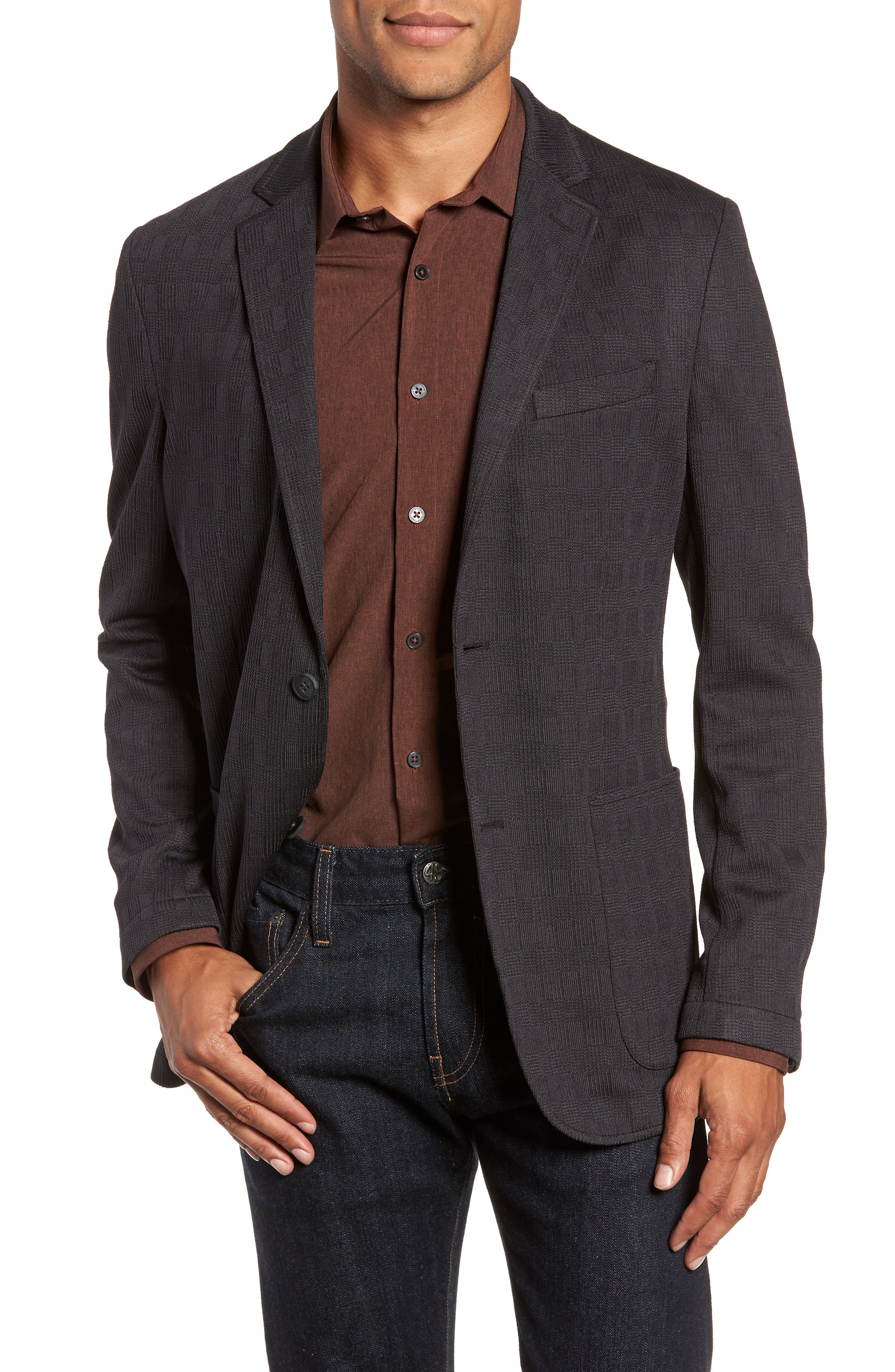 Slim Fit Stretch Knit Sport Coat, Main, color, CHARCOAL CHECK