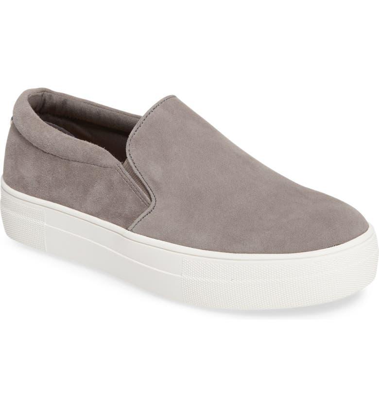 STEVE MADDEN Gills Platform Slip-On Sneaker, Main, color, GREY SUEDE