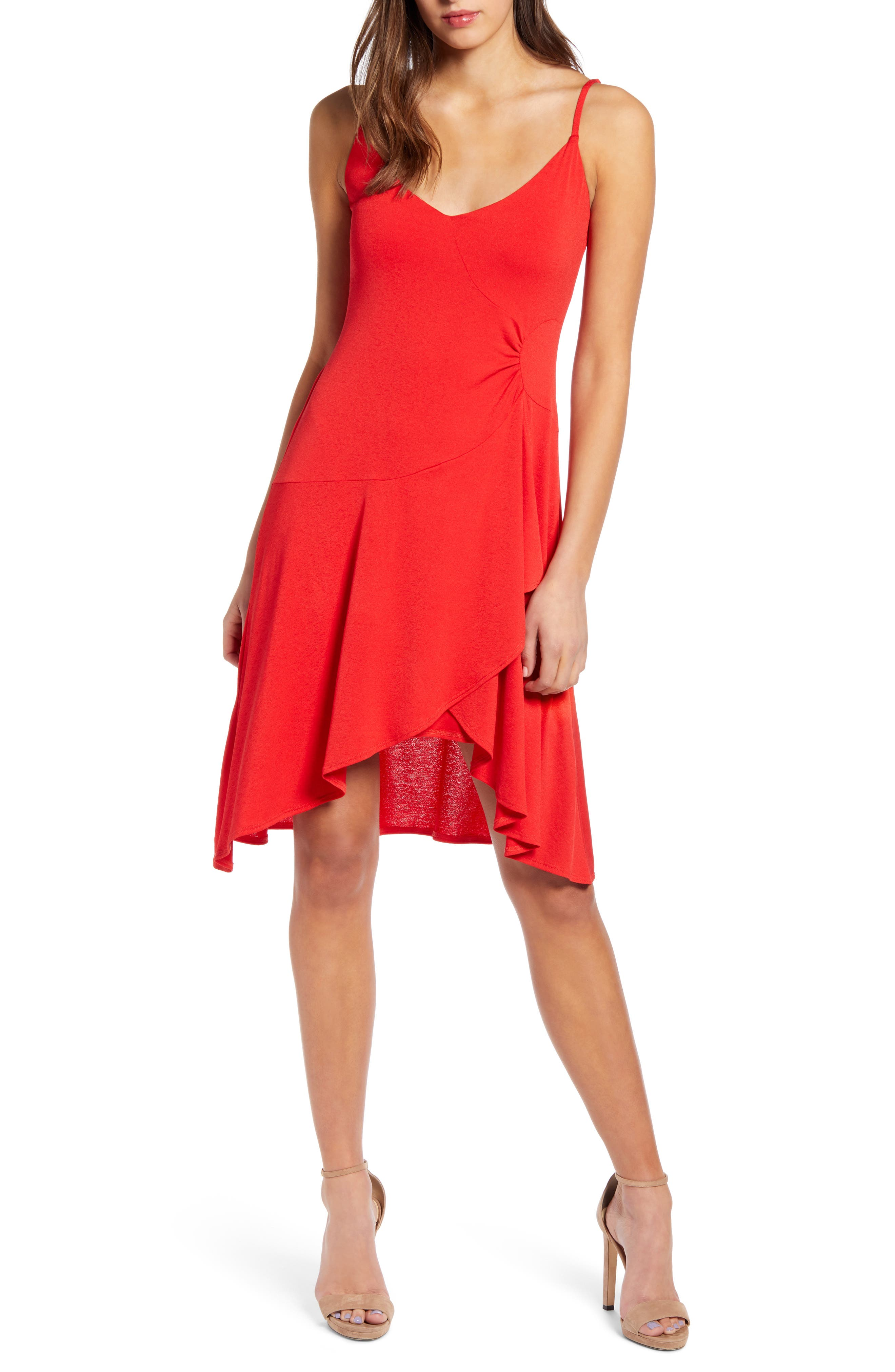 Leith Sleeveless High/low Disco Dress, Red