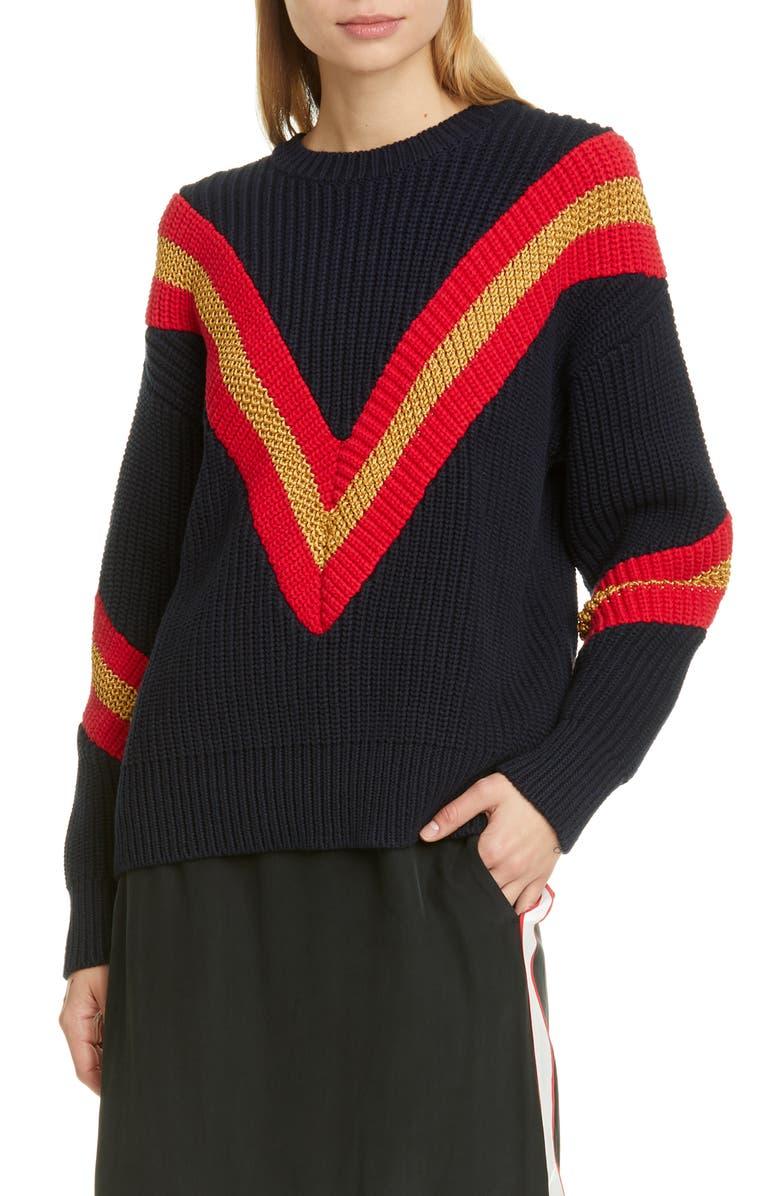 RAG & BONE Leon Chevron Rib Cotton Blend Sweater, Main, color, SAL