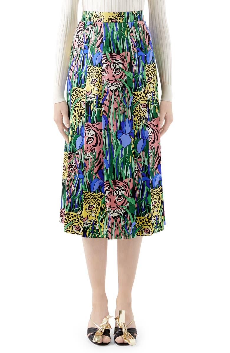 GUCCI Pleated Feline Garden Print Silk Twill Skirt, Main, color, GREEN/ ROSE PRINT